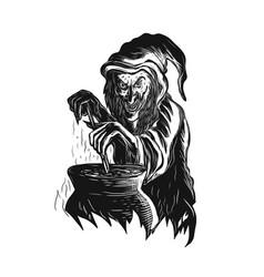Witch stirring brew pot scratchboard vector