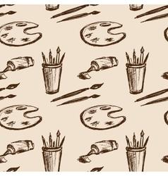 Seamless pattern art tools Hand drawing vector image
