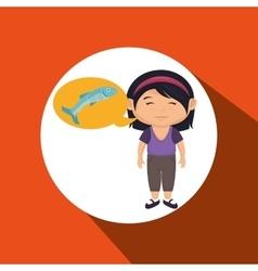 girl cartoon food fish fresh vector image