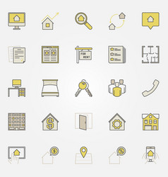 House rent colorful icons vector