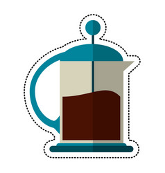 Cartoon french press coffee maker vector