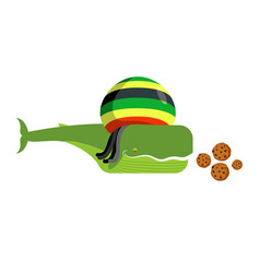 Rasta whale and cookies large marine animals in vector