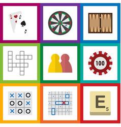 Flat icon play set of mahjong guess poker and vector