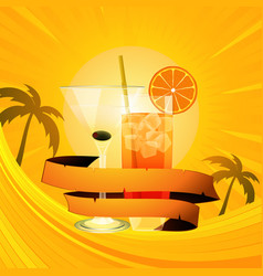 Tropical summer background with cocktails and vector