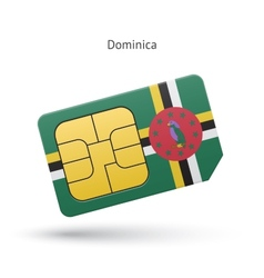 Dominica mobile phone sim card with flag vector