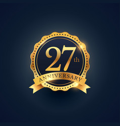 27th anniversary celebration badge label in vector image vector image