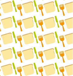 Pattern of toast fork knife meal food vector
