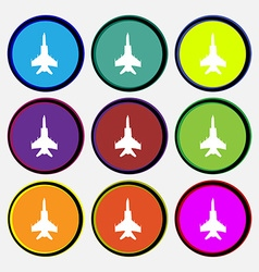 Fighter icon sign nine multi colored round buttons vector