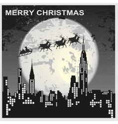 Santa Claus flying over city vector image