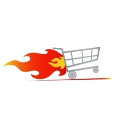 Fast shopping cart vector
