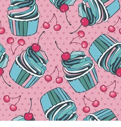 Seamless background with cherry and cupcakes vector