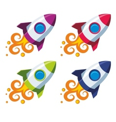 Set of colourful rockets vector