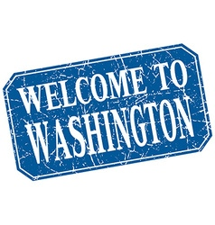 Welcome to washington blue square grunge stamp vector