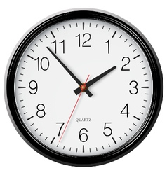 Classic black round wall clock vector