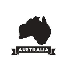 Flat icon in black and white Australia map vector image