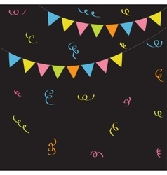 Triangle paper flags ribbon confetti black vector