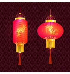 A set of purple Chinese lanterns With cherry vector image vector image