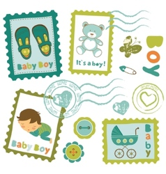 Baby boy stamps collection vector image vector image