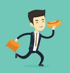 business man eating hot dog vector image