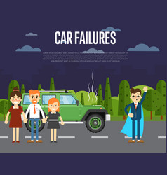 Car failures concept with people near broken car vector