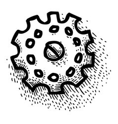cartoon image of gear icon engineering symbol vector image