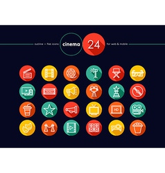 Cinema and movie flat icons set vector image