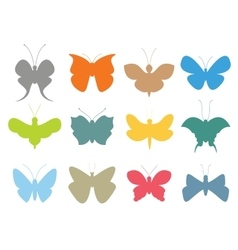 Colorful butterflies flat style collection vector image vector image