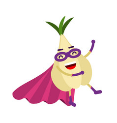 Cute cartoon garlic superhero in mask and cape vector