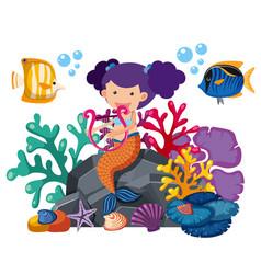 Cute mermaid playing harp with fish underwater vector