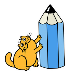 Cute orange fat cat hugging blue pencil vector