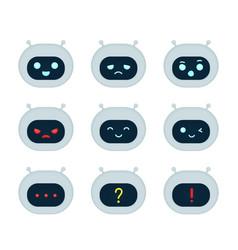 cute robot bot face emotion character set vector image
