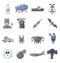 Fears phobias icons set cartoon style vector