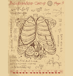 frankentsein diary with human anatomy chest vector image