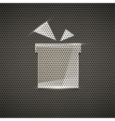 Gift icon metal texture background vector image