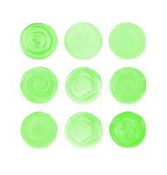 Green isolated watercolor paint circle vector