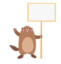 groundhog holding a blank sign board flat vector image