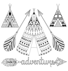 Hand drawn American native wigwam set with ethnic vector image