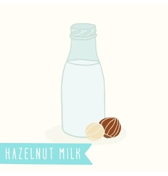 Hazelnut milk in a glass bottle vector