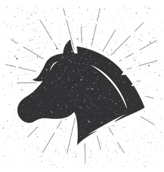 Horse head silhouette in retro style sign vector image vector image