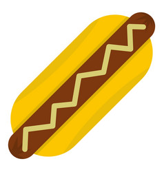 Hot dog with mustard icon isolated vector