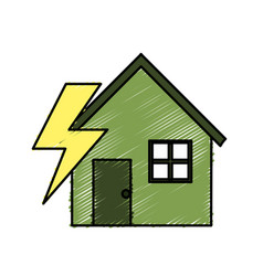 House with energy symbol to care environment vector