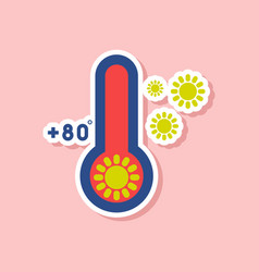 Paper sticker on stylish background of thermometer vector