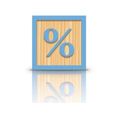 Percent sign wooden alphabet block vector