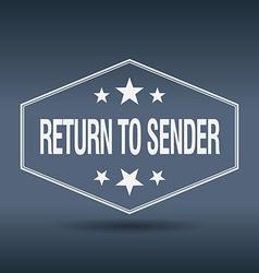 Return to sender hexagonal white vintage retro vector