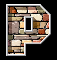 Stone letter p vector