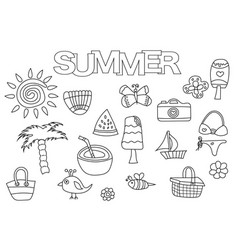 summer elements hand drawn set vector image
