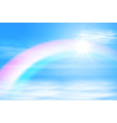 Sun in a the sky with rainbow vector