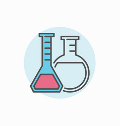 two flasks colorful icon vector image vector image