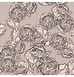 Vintage monochrome roses pattern with lace vector image