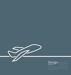 Web template logo of plane in minimal flat style vector